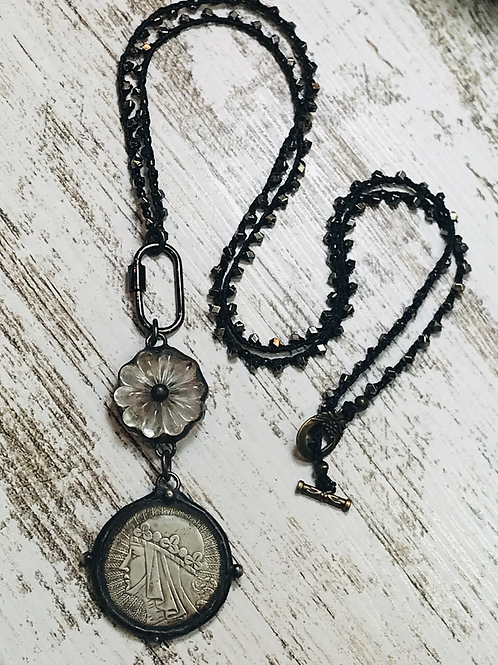 Soldered Glass Daisy Connector with Coin, Crocheted Chain, & Carbiner