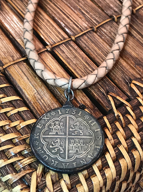 Soldered Cross coin on braided cord. Coin is reversible.