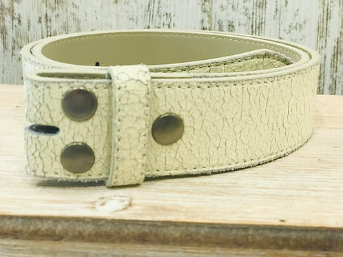 Distressed Crackle White Leather  Belt