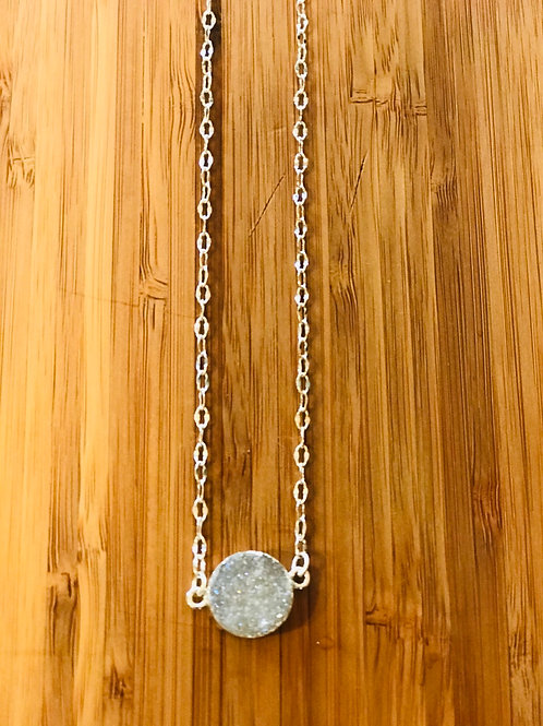 Dainty White Druzy Necklace with Silver Chain