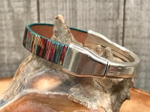 Shimmer leather cuff bracelet