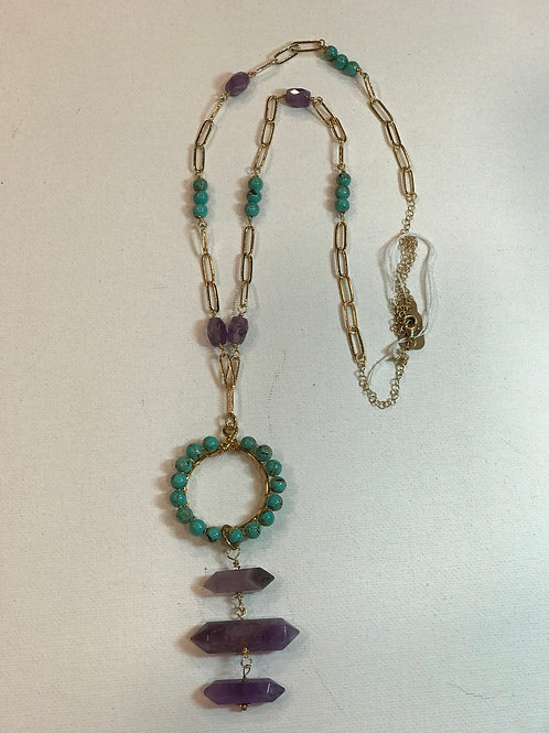 Turq Ring necklace with Amethyst crystal drops