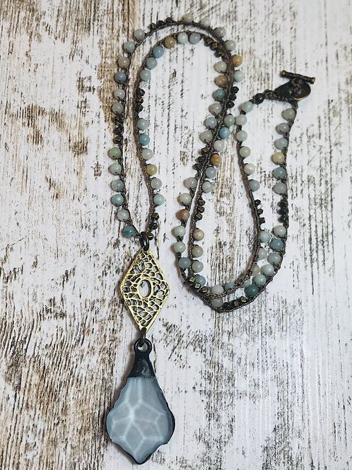 Glass Aqua Pendant with Brass Filigree Connector and Crochet Necklace