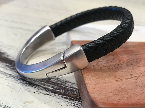 Silver Magnet Cuff with Braided Licorice leather