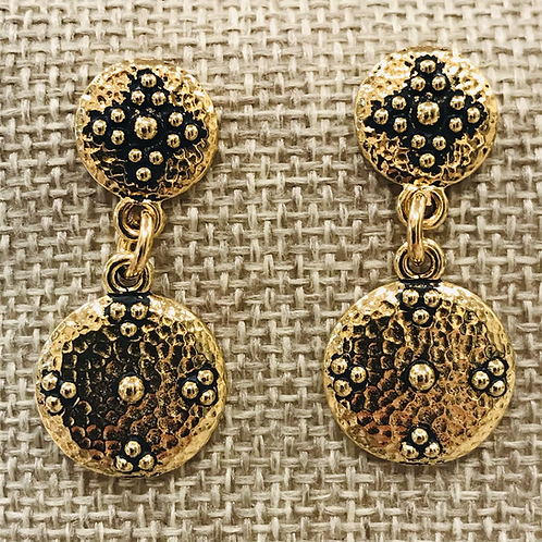 Dotted Gold Cross Earrings with Posts
