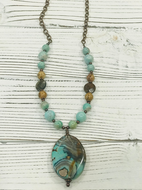Blue/Green Aqua Terra Agate Pendant Beaded Necklace