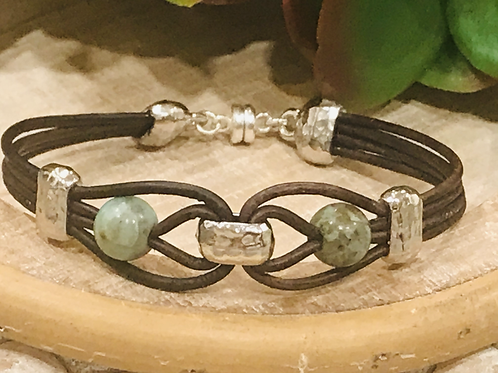 Silver Link Bracelet with Leather