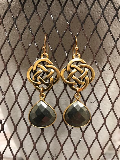 Gold bezel Pyrite Earrings