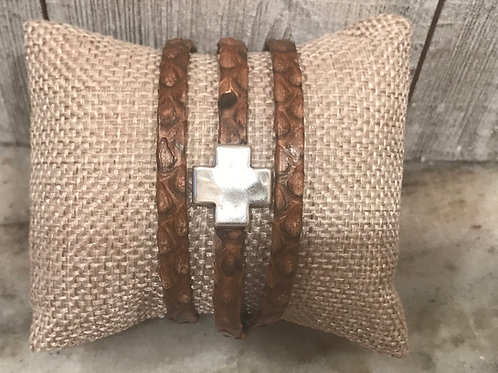 Brown Croc Leather Wrap Bracelet with Cross