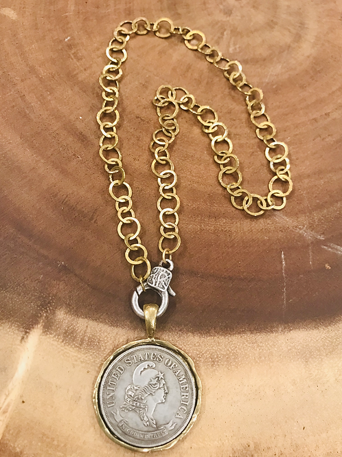 Gold Rim Silver Coin Necklace