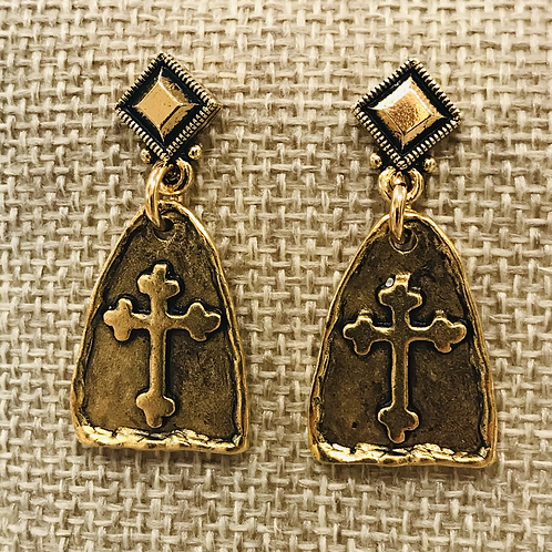 Celtic Gold Cross Earrings with Diamond Posts
