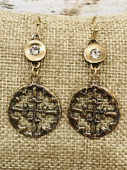 Viking Cross Charm with Matte Gold Rhinestone Connector