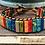 Thumbnail: Single wrap multi color impression jasper & leather bracelet w/ button closure