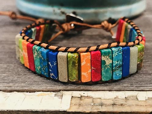 Single wrap multi color impression jasper & leather bracelet w/ button closure