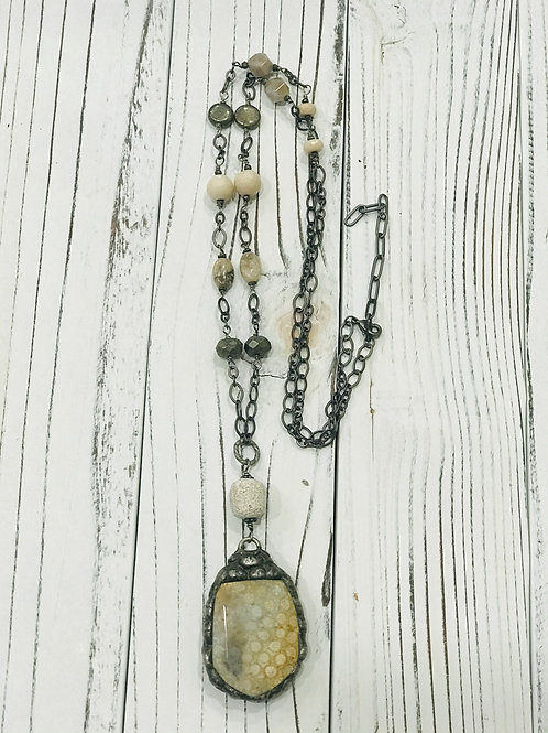 Fossil Coral Soldered  Pendant with Pyrite and African  Opal beaded Chain