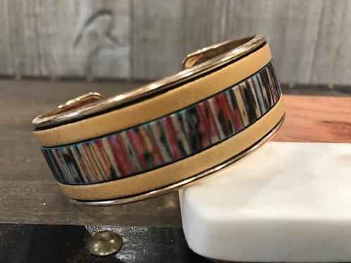 Metallic Gold and Print Leather Cuff Bracelet