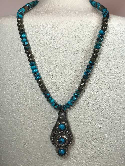 Soldered 3 Turquoise beaded Pendant
