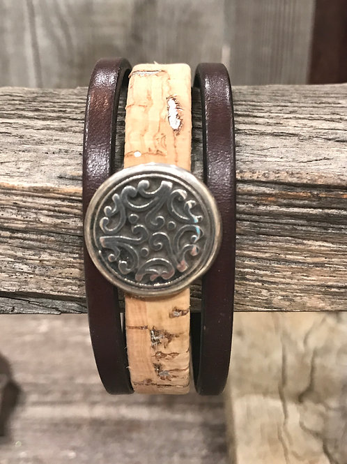 Leather and cork cuff bracelet with silver slider and magnet clasp