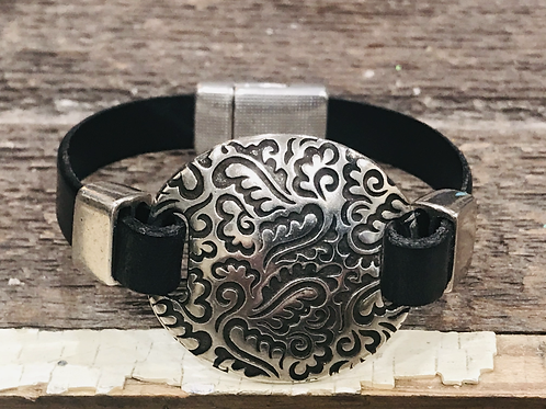 Silver Paisley and Leather Bracelet