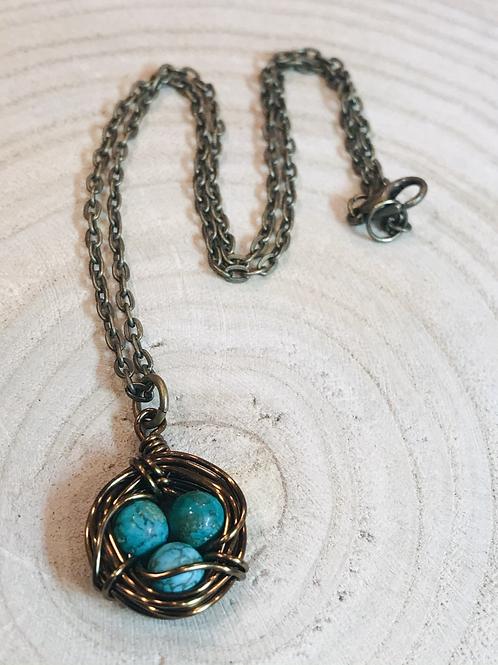 Turquoise Bird Nest Pendant Necklace