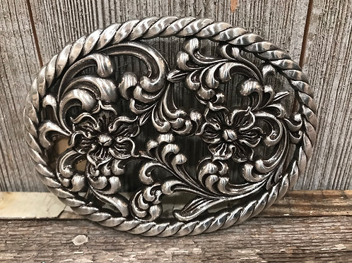 Silver multi floral cutout oval buckle with rope edging