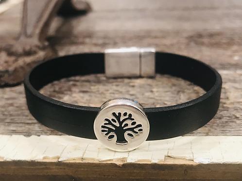Men's Leather Tree of Life Bracelet