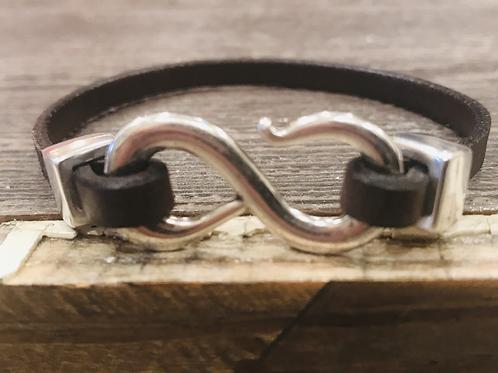 Silver S-Hook leather bracelet