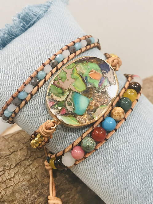 Multi leather wrap bracelet with gold plated Mosaic jasper stone