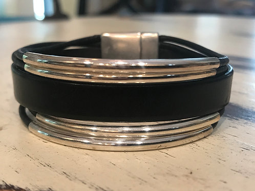 Leather with Silver Tubes Bracelet