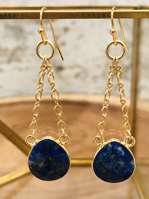 Bezeled Lapis Earrings with Gold Chain