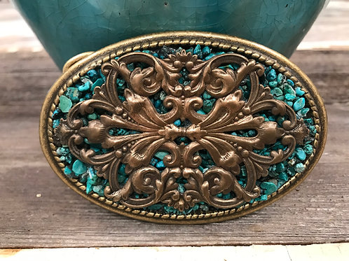 Brass filigree on turquoise stone chips