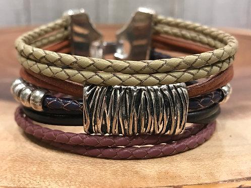 Single Silver Basket and Leather Slider Bracelet