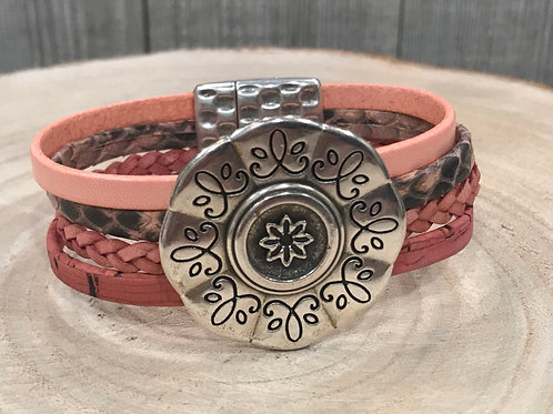 Multi Pink leather strand cuff bracelet with Silver slider and Magnet.