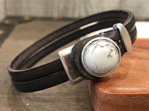 Grey Leather Bracelet with Howlite Stone