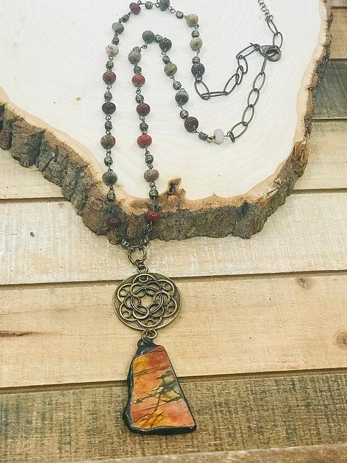 Autumn Jasper Slab Pendant with Brass Filigree Connector