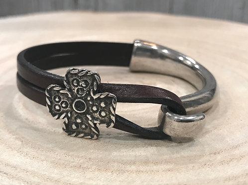 Silver bar bracelet with celtic cross slider in brown or black leather