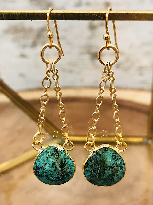 Bezeled African Turquoise Drop with Gold Chain
