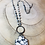 Thumbnail: White Obsidian Stone Pendant with Dendritic Opal Rosary Chain