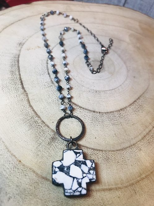 White Obsidian Stone Pendant with Dendritic Opal Rosary Chain