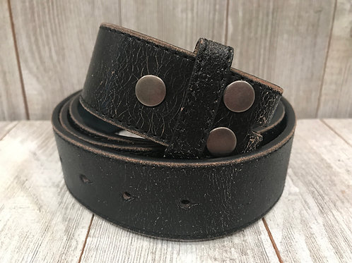 Black Distressed Leather Belt