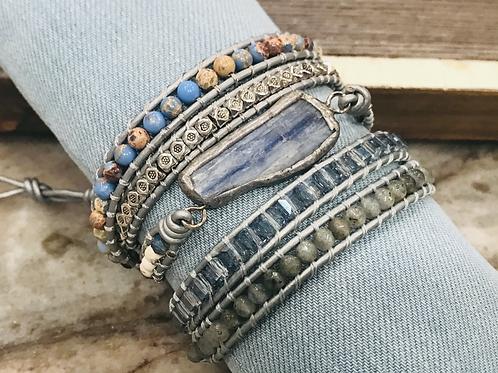 Multi wrap kyanite, blue impression jasper and grey leather wrap bracelet