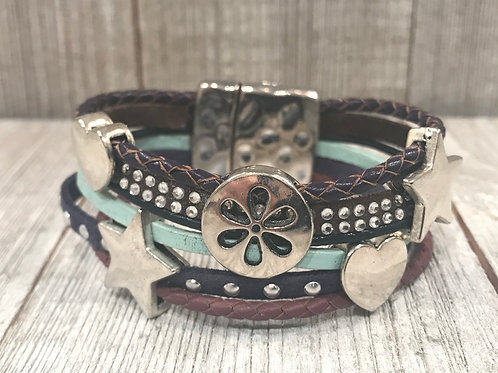 Multi leather bracelet with silver sliders