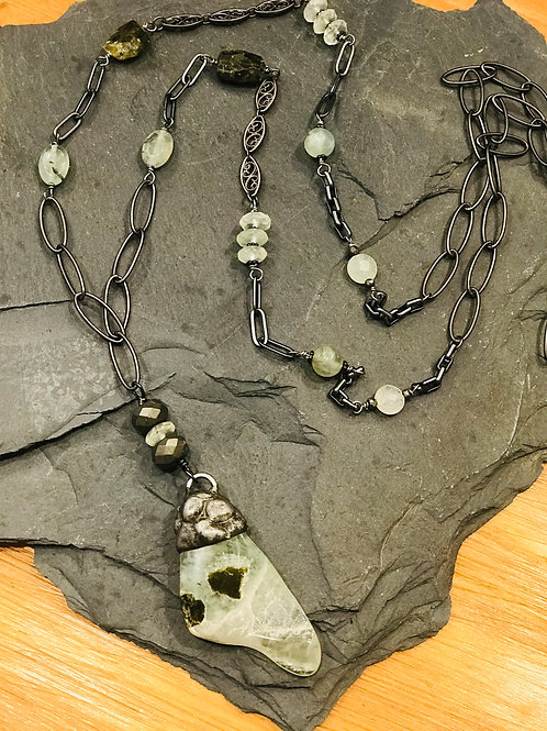 Prehnite Soldered Pendant with Beaded Chain Necklace .