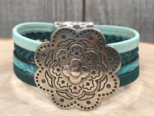 Multi Turq leather strand cuff bracelet w/ silver flower slider & magnet clasp