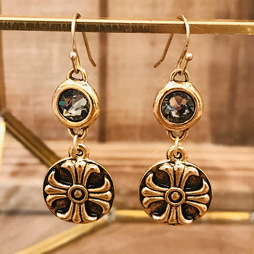 Gold Celtic Cross Earring with Swarovski Crystal Grey Rhinestone Connector