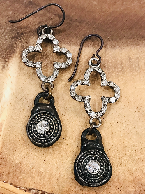 Clover Rhinestone Connector Earrings with Brass Drop