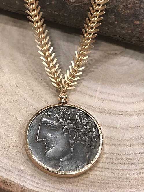 Pegasus gold bezel coin necklace with gold Fishtail chain