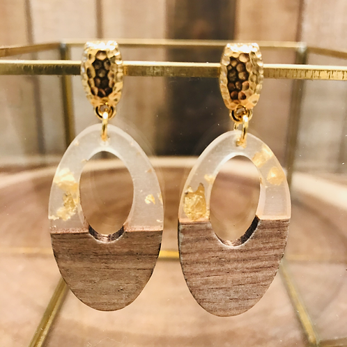 Walnut Wood and Resin Teardrop and Gold Posts