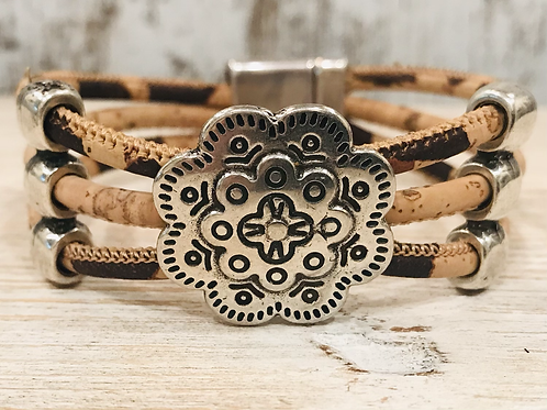 Leopard Print Portuguese Cork with Silver Flower Slider and Magnetic Clasp