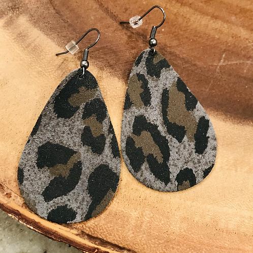 Teardrop Grey Animal Print Earrings